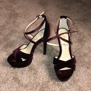 Jessica Simpson Burgundy Platform Strappy Heels 7M